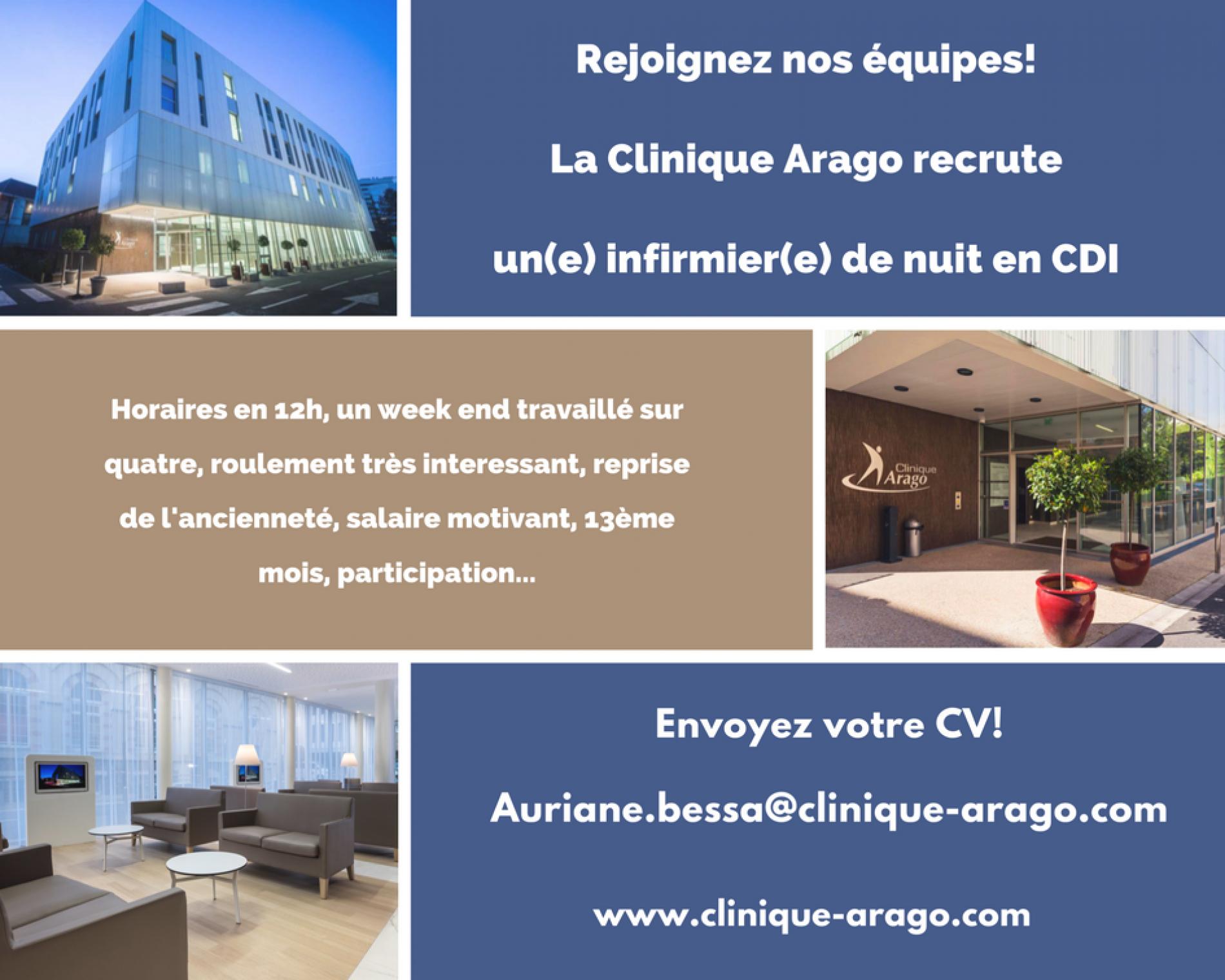 Rejoignez nos équipes ! La clinique Arago recrute un(e) infirmier(e) de nuit CDI