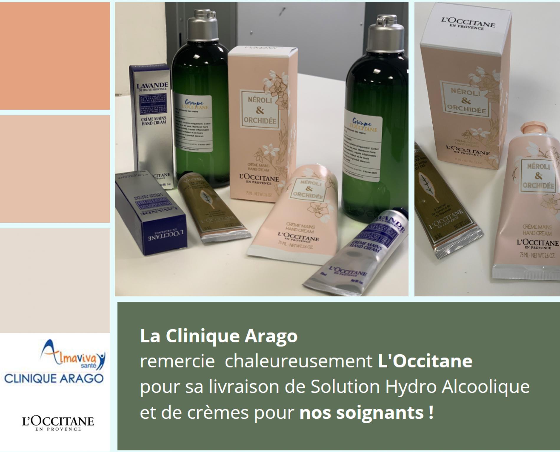 La Clinique Arago remercie L'Occitane!